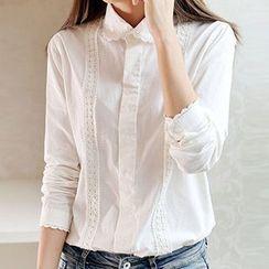 Neeya - 蕾絲邊長袖襯衫