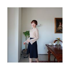 LEELIN - Frill-Edge Wool Blend Knit Top