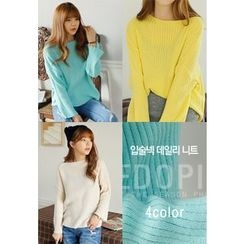 REDOPIN - Boat-Neck Rib-Knit Sweater