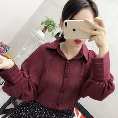 small dots - Lantern Sleeve Loose-fit Blouse