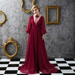 Coeur Wedding - Long-Sleeve Drape Evening Dress