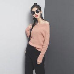 Sonne - 一字领拼接设计厚针织毛衣