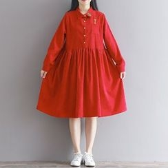 Clover Dream - Long-Sleeve Pleated A-Line Dress