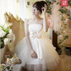 名貴風格 - 蝴蝶結飾迷你禮服裙