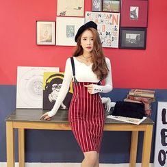 DABAGIRL - High-Waist Stripe Knit Pencil Skirt with Suspender