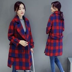 AiSun - Plaid Double Breasted Coat
