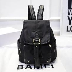 Bibiba - Genuine Leather Trim Buckled Backpack