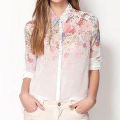 Neeya - Long-Sleeve Floral Print Chiffon Blouse
