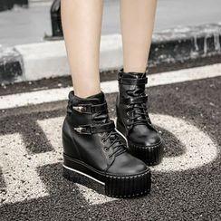 安若 - 繫帶厚底短靴