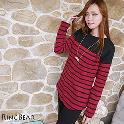 RingBear - Long-Sleeve Striped Fleece Lined Top
