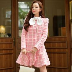 粉红大布娃娃 - 饰结荷叶边外套裙