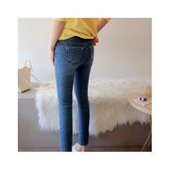 LEELIN - Band-Waist Skinny Jeans