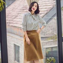 Dimosqisi - High-Waist Woolen Long Silm-Fit Skirt