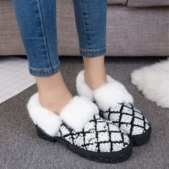 EMIL - Furry Trim Sequined Snow Slip-Ons