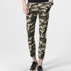HEIZE - Slim Fit Cropped Camo Pants