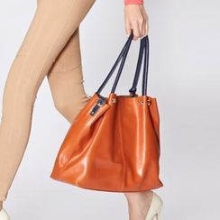 O.SA - Genuine Leather Contrast-Trim Tote