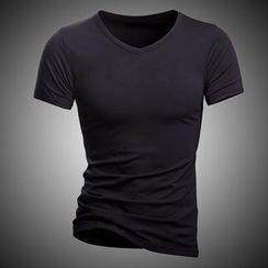 Fireon - Plain V-neck Short-Sleeve T-shirt