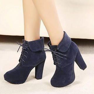 Mancienne - Fold-Over High-Heel Ankle Boots