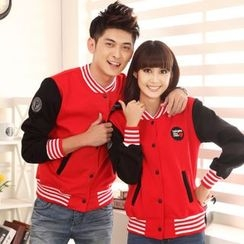 Lovebirds - Couple Color-Block Baseball Jacket