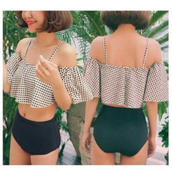 Jumei - Set: Pattermed Frilled Swim Top + High Waist Swim Bottom