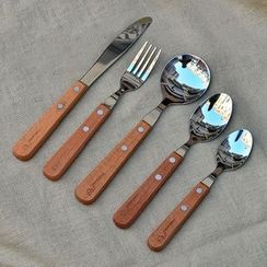 KIITOS - Stainless Steel Cutlery with Wooden Handle - Spoon / Fork / Knife