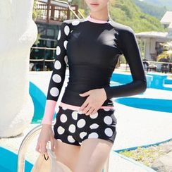 Dolfin - Set: Dotted Panel Rashguard + Swim Shorts
