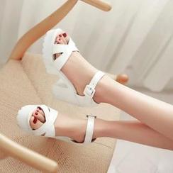 Pastel Pairs - 厚底粗跟凉鞋