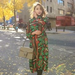 PPGIRL - Turtle-Neck Pattern Long Dress