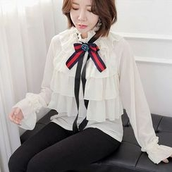 Seoul Fashion - Tie-Front Tiered-Detail Sheer Top with Brooch