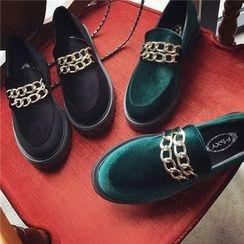 时尚麦乐 - 厚底拼接乐福鞋