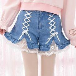 Moriville - Lace Hem Lace Up Detailed Denim Shorts