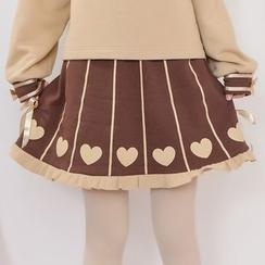 Moriville - Heart Print Frill Trim A-Line Skirt