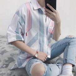 Soulcity - 條紋中袖襯衫