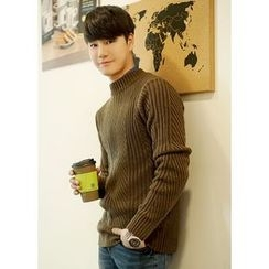 JOGUNSHOP - Mock-Neck Rib-Knit Sweater
