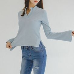 JUSTONE - Open-Placket Slim-Fit Knit Top