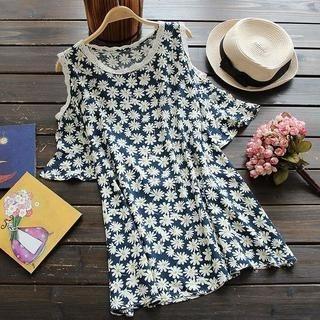 Flower Idea - Cutout Lace-Trim Floral Top