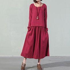 chic n' fab - Frog Button Linen-blend Dress