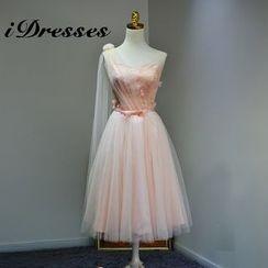 idresses - Flower Applique Embroidered Single Shoulder Tulle Cocktail Dress