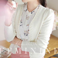 MyFiona - Faux-Pearl Beaded Open-Front Jacket
