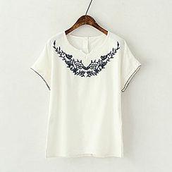ninna nanna - Short-Sleeve Embroidered Top