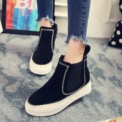 QQ Trend - Stitch Detailed Platform Ankle Boots