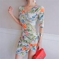 Babi n Pumkin - Surplice-Wrap Asymmetric-Hem Floral-Pattern Dress