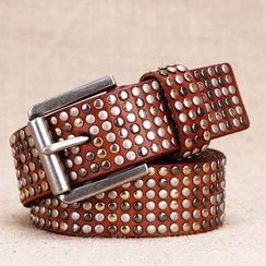 BAIEKU - Studded Genuine Leather Belt