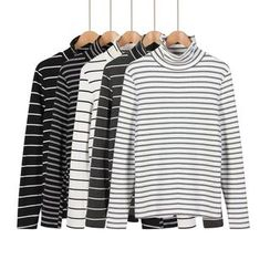 Momewear - Long-Sleeve Mock-Neck Striped Top