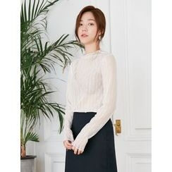 FROMBEGINNING - Long-Sleeve Lace Sheer Top