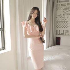Dream Girl - One Shoulder Frill Trim Midi Sheath Dress