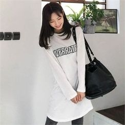 QNIGIRLS - Round-Neck Lettering Long T-Shirt