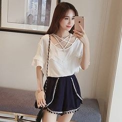 Rocho - Strappy Front Faux Pearl Elbow Sleeve Chiffon Top