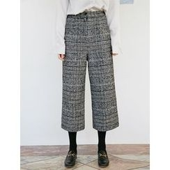 FROMBEGINNING - Glen-Plaid Check Cropped Pants