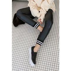 PPGIRL - Contrast-Trim Faux-Leather Leggings